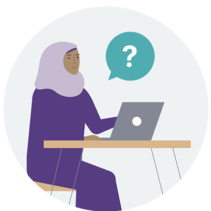 Woman with questions at a laptop