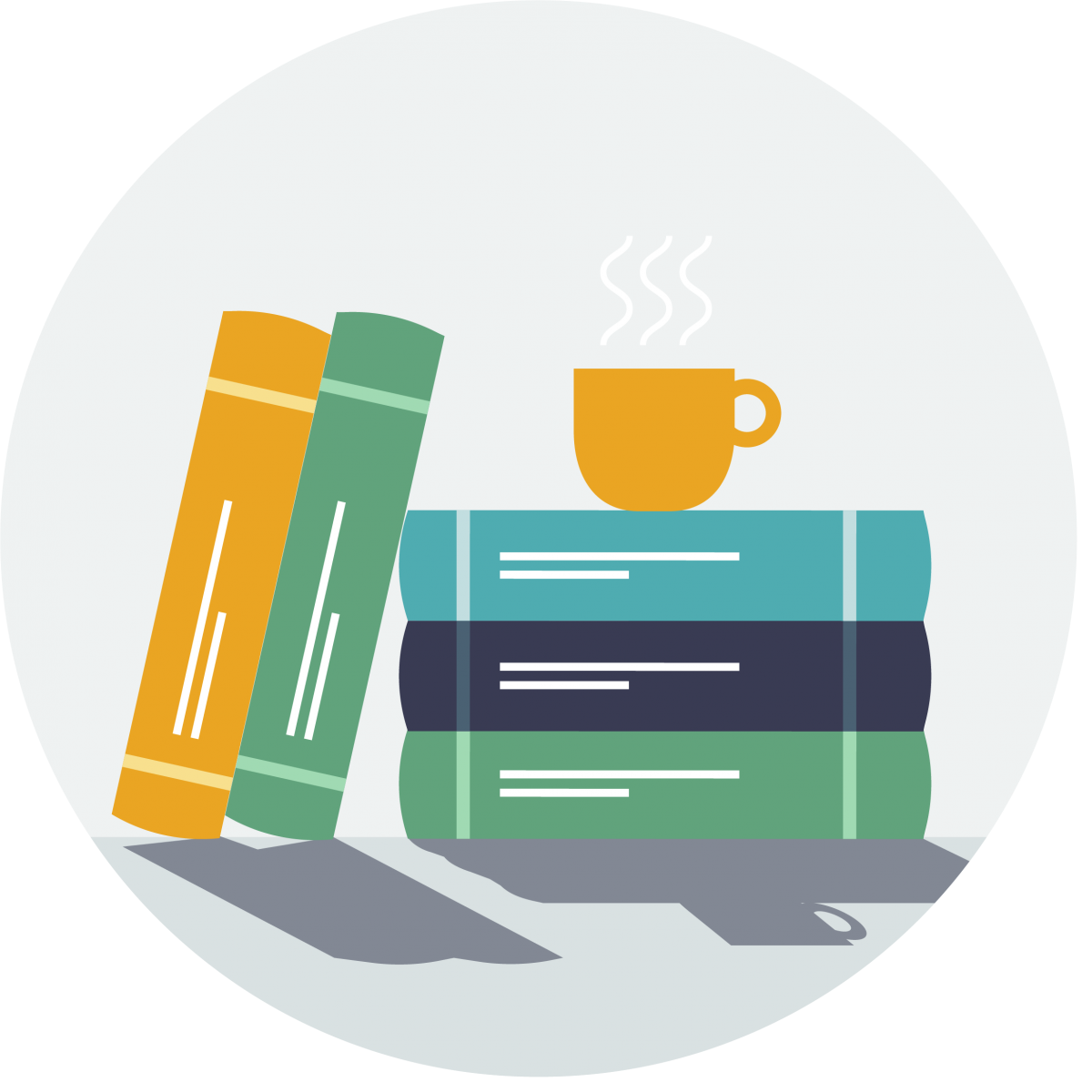 Image of books with a cup on top