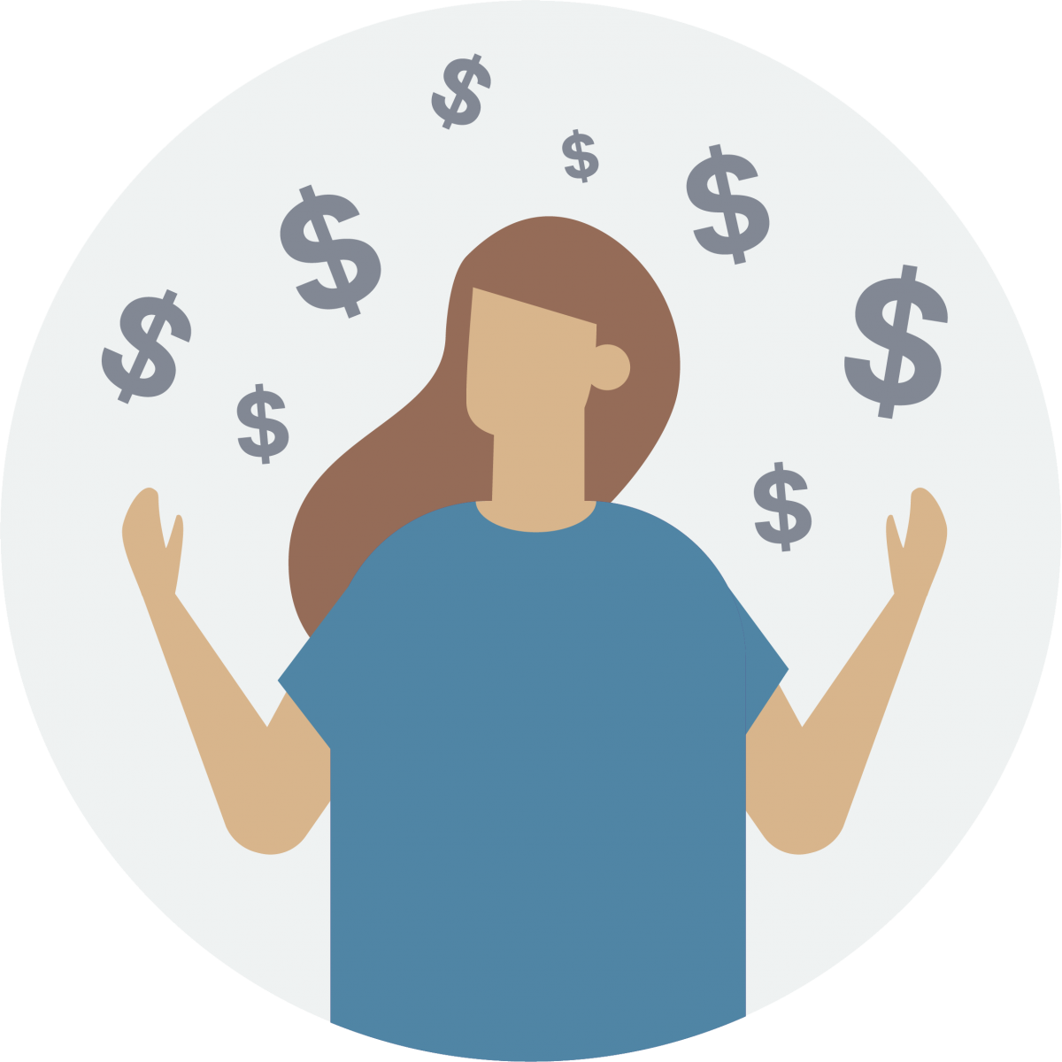 person holding hands up with dollar signs around them