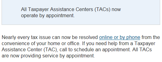 IRS Taxpayer Assistance Centers now operate by appointment only