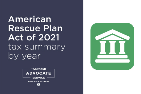American Rescue Plan Act of 2021 Individual tax changes summary by year