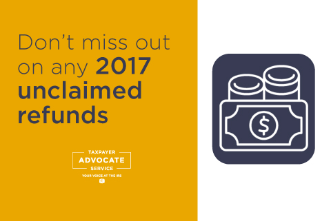 Don't miss out on any 2017 unclaimed refunds - file before May 17