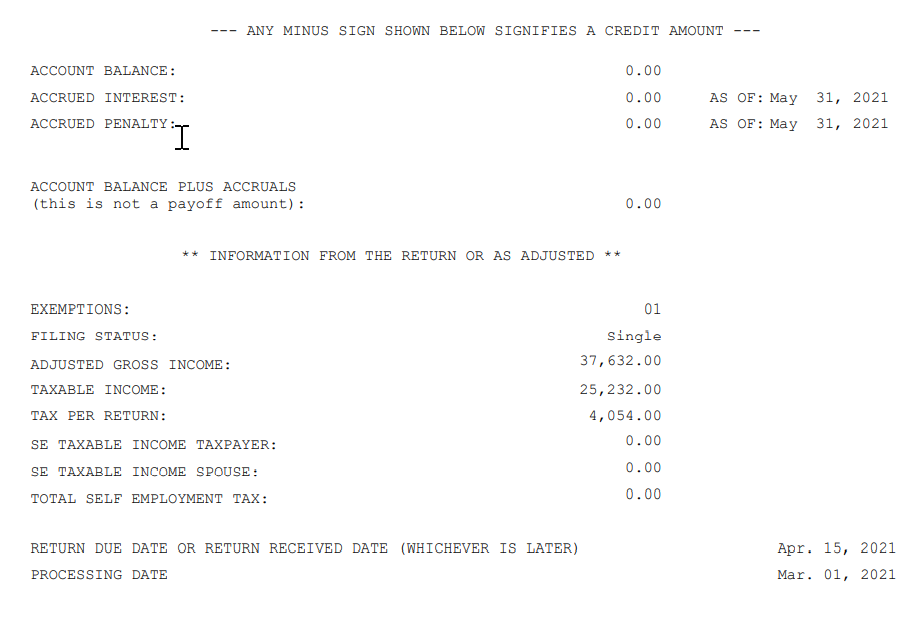 IRS Record of Account Transcript example